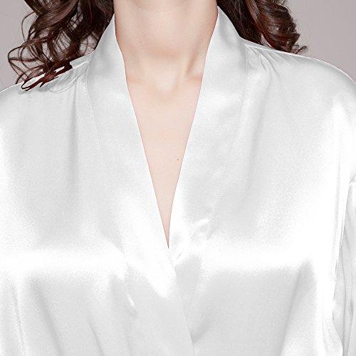 LILYSILK Robe De Chambre Femme en 100% Soie Style Kimono 22 Momme Blanc