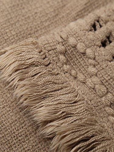 BAISHENGGT - Élégant Poncho à Capuche avec Franges, Cape Tricoté au Crochet - Femme Kaki
