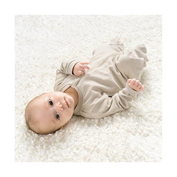 Jacky – Juego de 2 peleles / pijamas de bebé con pies – unisex – 100% algodón – blanco / beige – producto libre de… 4