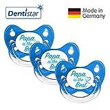 Dentistar® Silikon Schnuller 3er Set - Beruhigungssauger, Nuckel Größe 1 von Geburt an, 0-6 Monate - zahnfreundlich & kiefergerecht | Blau Papa
