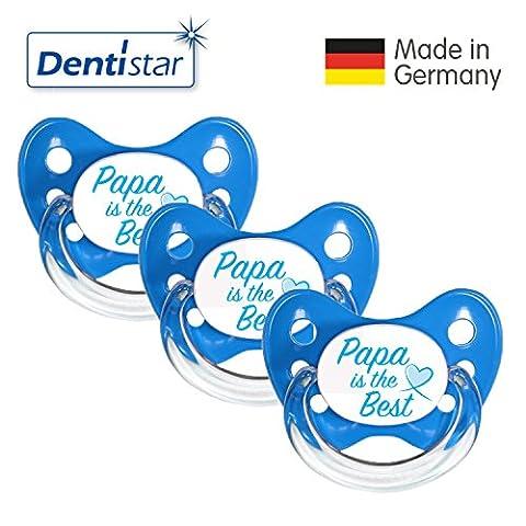 Dentistar® Schnuller 3er Set- Nuckel Silikon in Größe 2, 6-14 Monate - zahnfreundlich & kiefergerecht - Beruhigungssauger für Babys - Blau