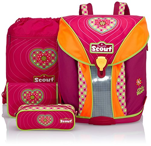 Scout Schulranzen-Set Basic Nano Set 4 tlg Pink Heart 36 cm Pink...