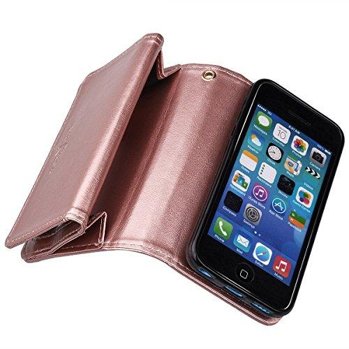 xhorizon TM FM8 Cuir Premium Folio étui [ la fonction de portefeuille] [magnétique détachable] Sac à main bracelet souple Carte Multiple couvrefente pour iPhone 5C Rose d'or+Film acier