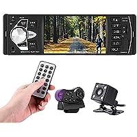 Qiilu Radio coche 4.1 pulgadas Reproductor MP5 Pantalla HD Bluetooth Manos libres Reproducción de video Radio FM AUX TF USB y Control remoto (con camara)