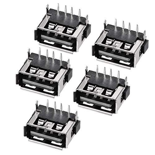ZCHXD USB-AF PCB Connector Female Jack 10mm Short Body Insert Straight Pin Back 5pcs Female Insert-kabel