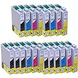 Lot de 20100% qualité Cartouches d'encre XL pour Epson Stylus compatible Epson Stylus SX420W SX425W S22SX 125BX305FW Plus SX130SX235W SX235W SX435W SX440W SX445W EPSON Stylus Office BX305F BX 305FW (8x T1281Noir, 4x T1282cyan, 4x T1283magenta, 4x T1284Jaune) avec puce.