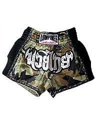 Lumpinee Retro de camuflaje del ejército de camuflaje hombres pantalones cortos para Muay Thai y boxeo, lucha, hombre mujer Infantil, color rojo/azul, tamaño mediano