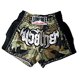 Lumpinee Retro de camuflaje del ejército de camuflaje hombres pantalones cortos para Muay Thai y boxeo, lucha