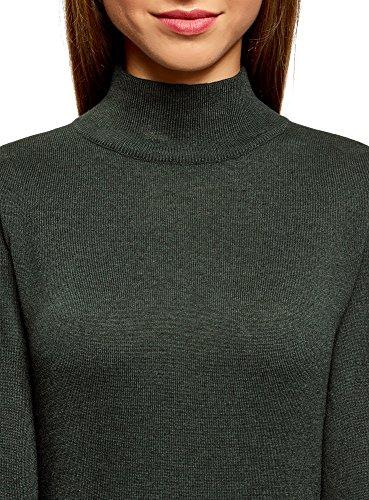 oodji Ultra Damen Strickpullover Basic mit Hohem Kragen Grün (6900N)