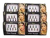 Bindi Banithani 6 pz tatuaggio indiano fronte temporanea gioielli adesivo forma tradizionale, colore: Multicolor-10, cod. EBIN420
