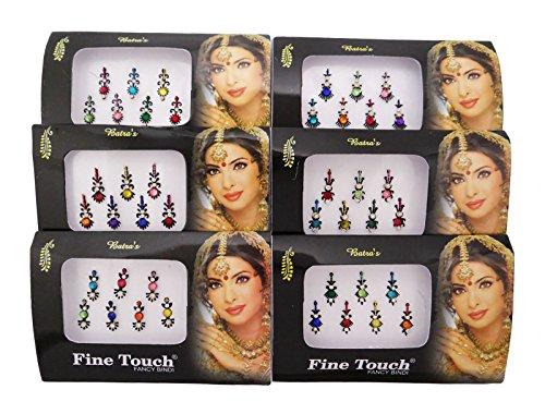 Banithani 6 Stück Bindi Traditionellen Indischen Tattoo Temporäre Stirn Aufkleber Modeschmuck
