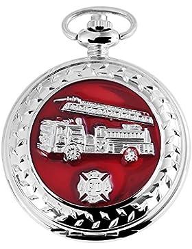 Modische XXL Feuerwehr Taschenuhr Weiß Rot Silber Metall Analog Quarz Herrenuhr
