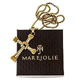Marejolie Originale Vin Diesel Kette aus Fast and Furious mit Dominic Toretto Kreuz aus Edelstahl in Gold