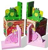 Set von zwei Holz Frosch und Prinzessin Buchstützen perfekt für ein Kinderzimmer Schlafzimmer