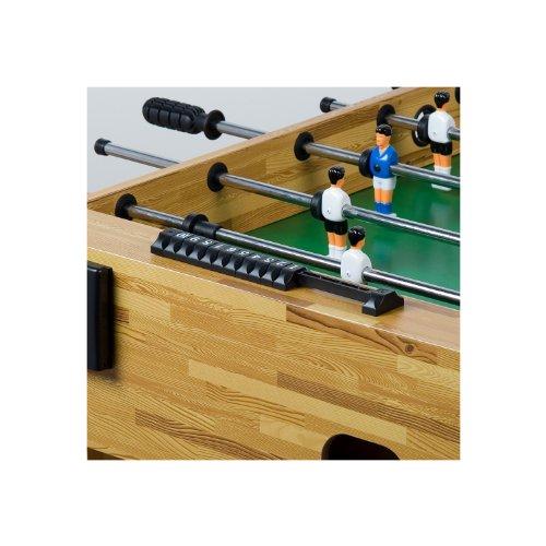"""Tischfussball """"Glasgow"""" Buche inkl. Zubehör Set, 2 Getränkehalter, höhenverstellbare Füße, nahtlos hochgezogene Spielfeldecken, Tischkicker, Kicker, Kickertisch -"""