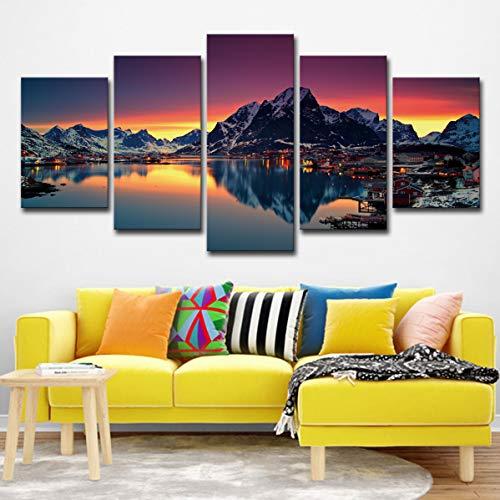 100 Norwegischen Öl-qualität (handaxian 2019 Explosion Modelle 5 Leinwand Kunst norwegischen Bucht Winterwand Wohnzimmer Moderne Dekoration-l)