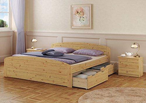 Funktionsbett Doppelbett + 3 Bettkasten + Rollrost 180x200 Seniorenbett Massivholz Kiefer 60.50-18
