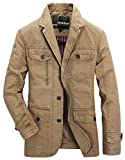 Herren Sakko Slim Fit Blazer Mantel Baumwolle Jacke Freizeit Sakko Männer Kleidung Casual Nner Herrensakko Business (Color : 2-Khaki, Size : 2XL)