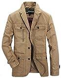 Herren Sakko Slim Fit Blazer Mantel Baumwolle Jacke Freizeit Sakko Männer Kleidung Casual Nner Herrensakko Business (Color : 2-Khaki, Size : L)