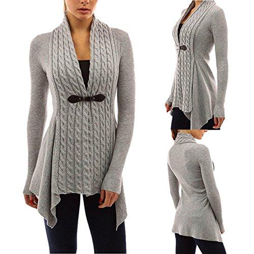 Cappotti,WINWINTOM Maglia A Manica Lunga Casuale Maglione Lavorato A Maglia Cardigan Outwear (XL(EU=40), Grigio)