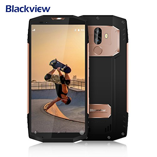 Outdoor Handy, Blackview BV9000Pro Rugged Smartphone Outdoor 18: 9 Vollbild , IP68 Smartphone 6GB RAM + 128GB ROM mit 8MP + 13MP + 5MP Dual SONY Kameras, Android 7.1 Handy mit 4180mAh Big Akku,12V 2A Schnellladung,NFC,Gesicht ID,GPS-Gold