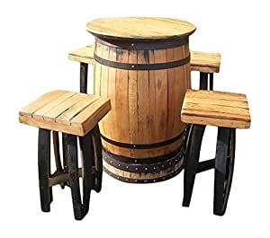 Table de bar ronde en tonneau whisky en ch ne 4 - Amazon table de bar ...