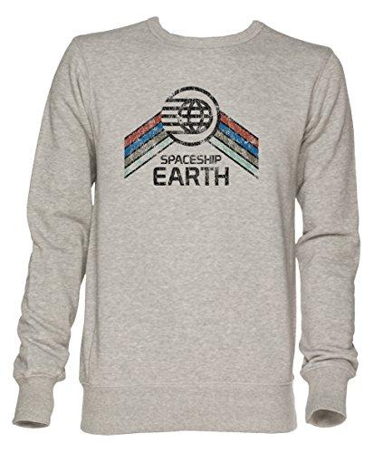 Vintage Spaceship Earth Unisex Grau Jumper Sweatshirt Herren Damen Größe L | Jumper for Men and Women Size L -
