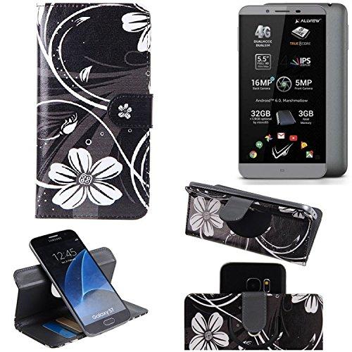 K-S-Trade Schutzhülle für Allview V2 Viper S Hülle 360° Wallet Case Schutz Hülle ''Flowers'' Smartphone Flip Cover Flipstyle Tasche Handyhülle schwarz-weiß 1x