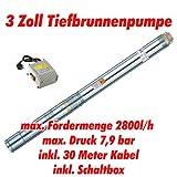 Agora-Tec AT- 3 Brunnenpumpe 550W mit 30 m Kabel Edelstahl-Tiefbrunnenpumpe mit max: 7,9 bar, 3200l/h