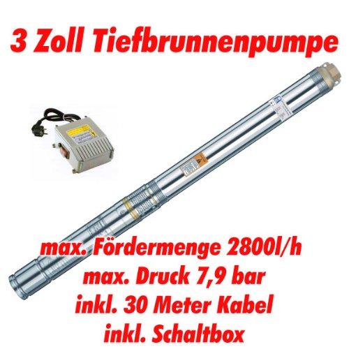 Agora-Tec AT- 3' Brunnenpumpe 550W mit 30 m Kabel Edelstahl-Tiefbrunnenpumpe mit max: 7,9 bar, 3200l/h