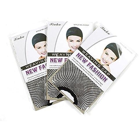 ZZHH Alto malla elástica tapa peluca red complementos (paquete de 3)