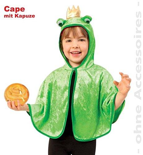 Cape Froschkönig mit Kapuze Kinder Kostüm Fasching Pannesamt GR: (Kleinkind Kostüm Frosch)