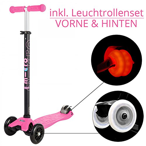Maxi Micro Kickboard Scooter pink - LED Edition (Maxi Micro Scooter Pink)