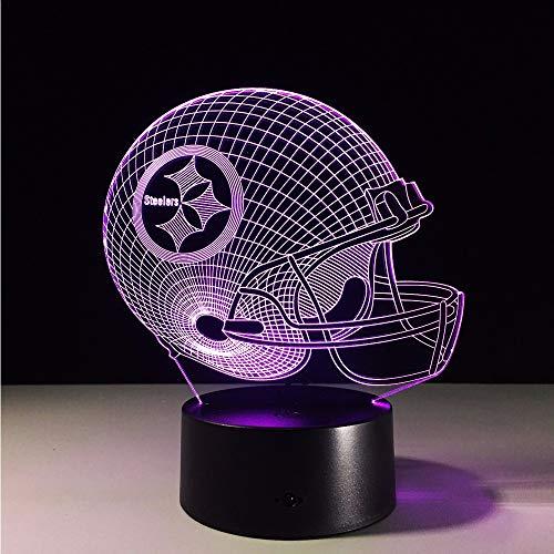 Lifme 7 Farben Ändern 3D Led Nachtlicht Nfl Team Pittsburgh Steelers Fußballhelm Touch Sensor Usb Tischlampe Hause Cor Kinder Geschenk