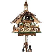 Orologio cucù della Foresta Nera in vero legno con meccanismo al quarzo azionato da batteria e verso cucù – Offerta di Uhren-Park Eble –Casetta della Foresta Nera 32 centimetro-