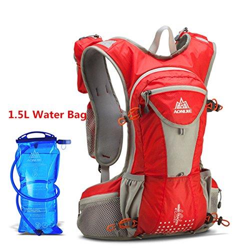 Imagen de aonijie  bolsas de  de nailon impermeable running marathon ciclismo running bolsa de deporte + 1.5l hidratación bolsa de agua, rojo