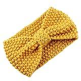 DELEY de las Mujeres de Invierno de las Niñas Crochet Tejer Arco Turbante Headwrap Diadema para Envolver la Cabeza de la Oreja más Cálido Amarillo