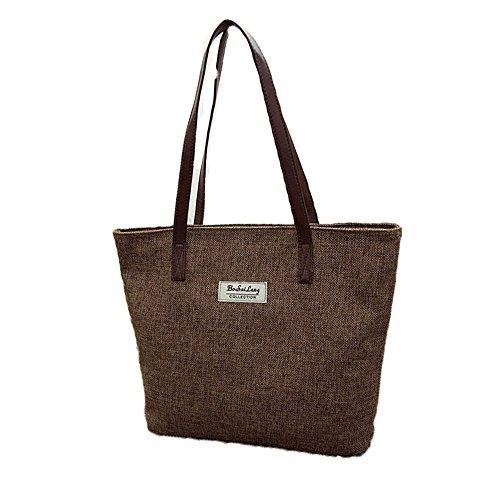 Meiye Large Canvas Tote Bags Avec Zipper Closure Design Beach Tote Sacs à main pour les filles Shoulder Hand Bag (Kaki) marron