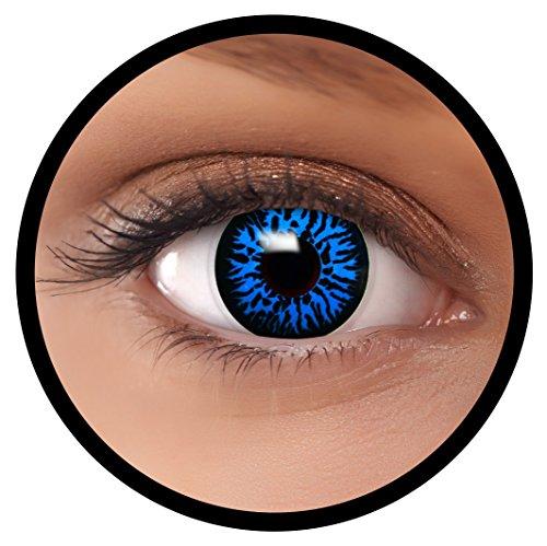 FXEYEZ® Farbige Kontaktlinsen blau Blue Dämon + Linsenbehälter, weich, ohne Stärke als 2er Pack - angenehm zu tragen und perfekt zu Halloween, Karneval, Fasching oder Fasnacht