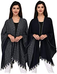 SKiDlers Women's Open Front V Cut Reversible Tassel Knitted Large Poncho Capes wrap Shawl Cardigans(Pack of 1)