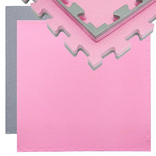 Eyepower 20mm Dicke Bodenschutz-Matte 90x90cm Trainingsmatte Puzzlematte erweiterbare Fitnessmatte inkl. Rand Grau Pink