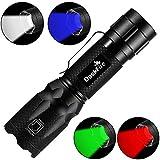 4 in 1 LED Taschenlampe Super Helle 900 Lumen rotes, grünes & blaues Licht Multifunktionale Taschenlampe mit verstellbarem Fokus Wasserdichte Taschenlampe