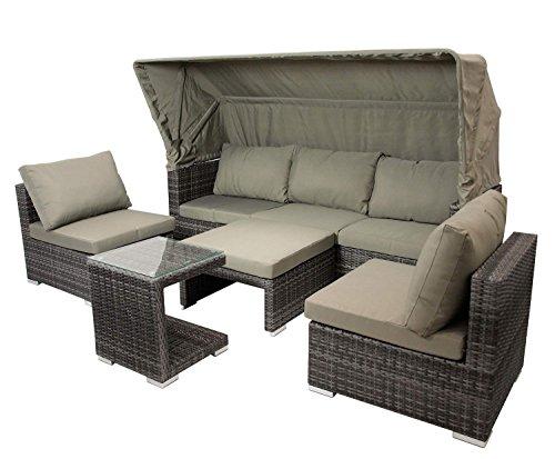 Funktions- Loungeset in grauem Polyrattan mit Auflagen in taupe, 3-sitzer Sofa mit Verdeck, 2...