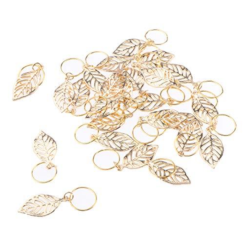 B Blesiya 30 Stück Haar Geflecht Ringe Metall Haar Manschetten Haar Dreadlocks und Anhänger Charms Haarspange Stirnband Zubehör, Gold