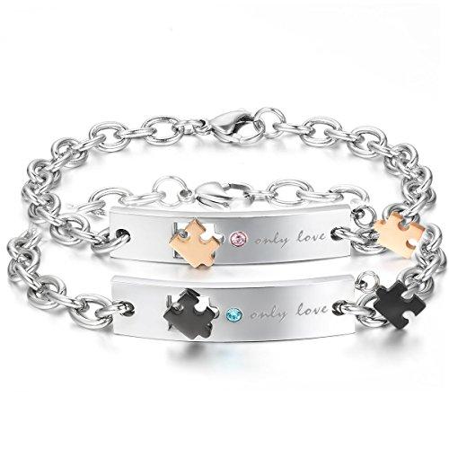 *JewelryWe Schmuck 2pcs Herren Damen Armband, Lieben Freundschaftsarmband, Only Love & Puzzle Design, Zirkonia Diamant Edelstahl, Gold Schwarz Silber*