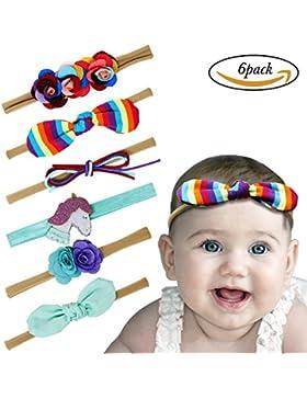 Vamei bebé diademas floral paño arco niñas elásticas diademas para niños pequeños fiesta de cumpleaños de cumpleaños
