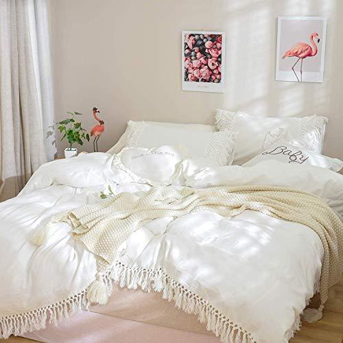 TEALP Boho Bettwäsche Set White Bettbezug Set Fransen King Size Washed Cotton Vintage und Elegant Ruffle 3 Stück Bettbezug-Set (1 Bettbezug 2 Kissenbezüge) (Bettwäsche Bettbezug King White)