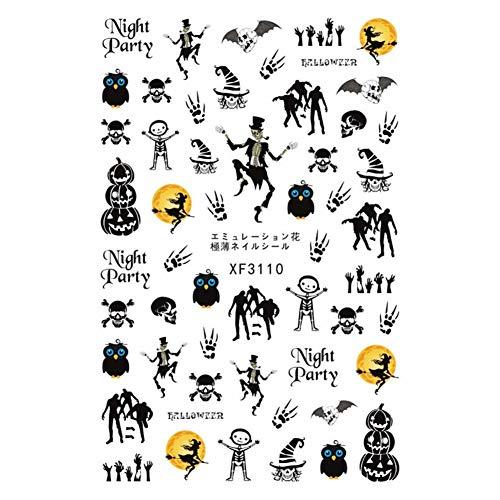 DRTYLO Nagelauf Kleber 30 Arten! Halloween-Muster! 1 Blatt Art Manicure Back Glue Aufkleber Für S Dekoration