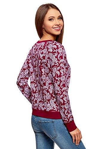 oodji Ultra Femme Sweat-Shirt Basique Imprimé Rouge (4920E)