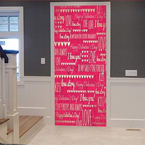 staben Tür Aufkleber Mit Liebe 3D Modelle Perspektive Aufkleber Valentinstag Jubiläen Überraschung Dekor Einrichtungsgegenstände 77X200Cm ()